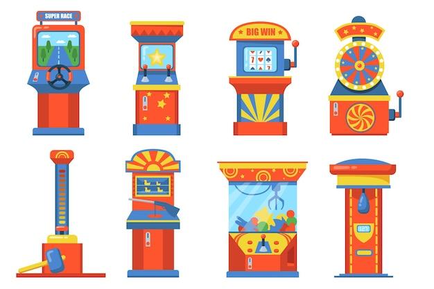Устройства парка аттракционов с набором плоской иллюстрации слота. мультяшные игровые автоматы с корзиной, боксерской грушей, колесами и мягкими игрушками изолировали коллекцию векторных иллюстраций. азартные игры и развлечения Бесплатные векторы