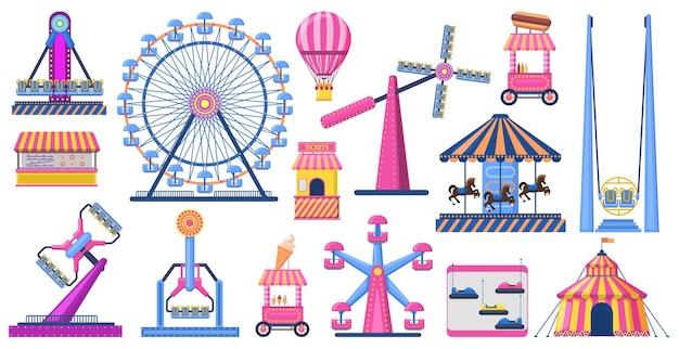 명소 축제 공원. 유원지 명소, 관람차, 서커스 텐트. 프리미엄 벡터