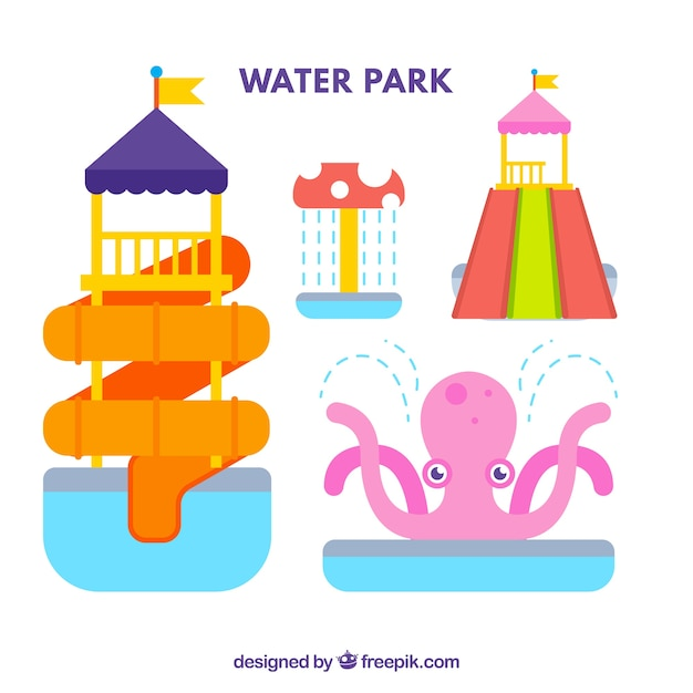 Attractions of water park in flat design