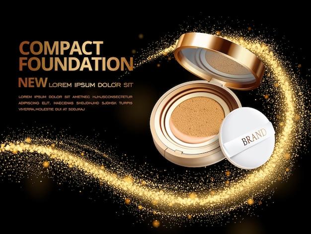 Attractive compact foundation ads Premium Vector
