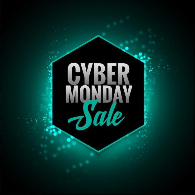 Attraente cyber lunedì vendita incandescente banner design Vettore gratuito