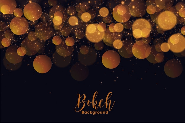 Attractive holiday bokeh background in golden light effect Free Vector