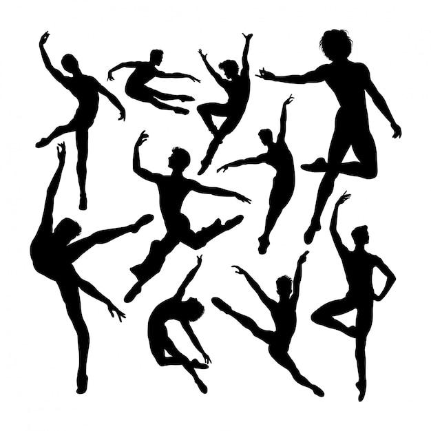 Привлекательные мужские силуэты балерины Premium векторы