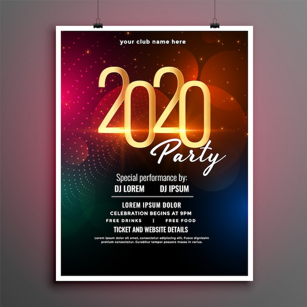 Attractive new year event party flyer template Free Vector
