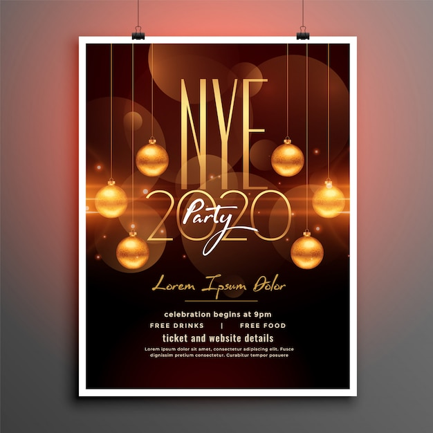 Attractive new year party flyer in golden theme Free Vector