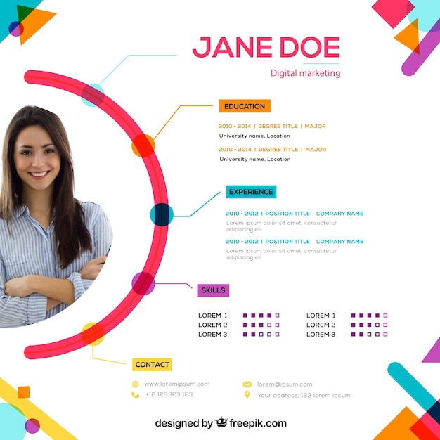 Attractive online curriculum template Free Vector