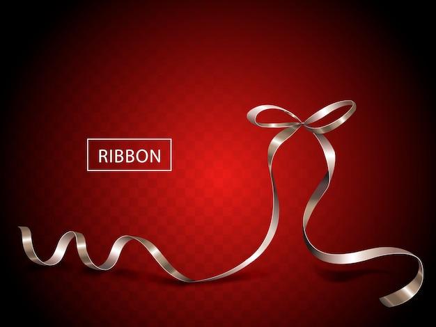 魅力的なシルバーリボン要素、分離された光沢のあるテクスチャリボン Premiumベクター