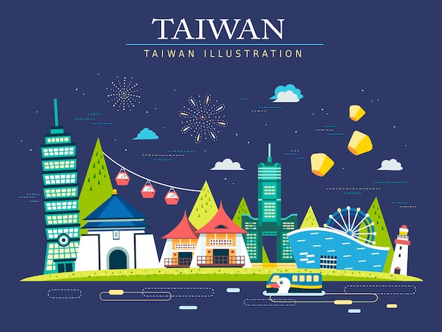 Attractive taiwan travel concept banner with landmarks Premium Vector