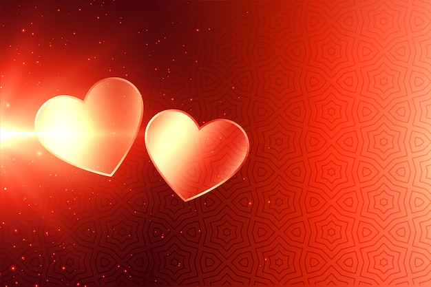 Attractive two shiny valentines day hearts background Free Vector