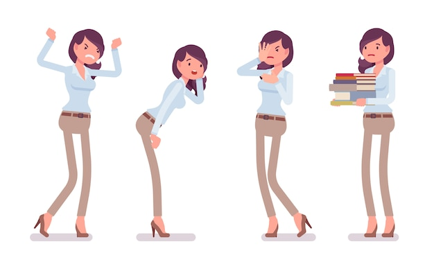 Attractive unhappy young woman in buttoned up shirt and camel skinny chino trousers, negative emotions. business stylish workwear trend and office city fashion.   style cartoon illustration Premium Vector