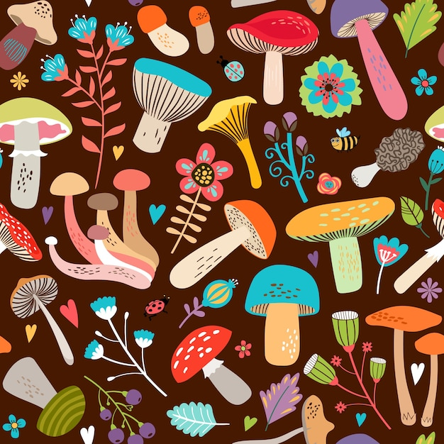Attractive various cartooned leaves and mushrooms graphic design on seamless brown background. Free Vector
