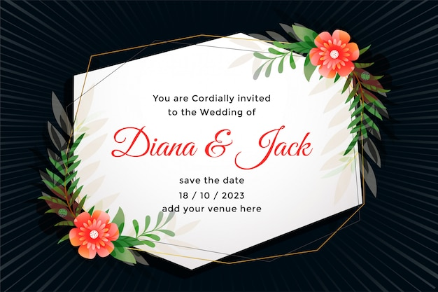 Attractive wedding card with flower decoration Free Vector