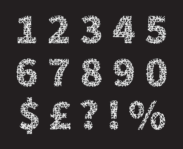 Attractive white crossed font number and symbol designs and gray background. Free Vector