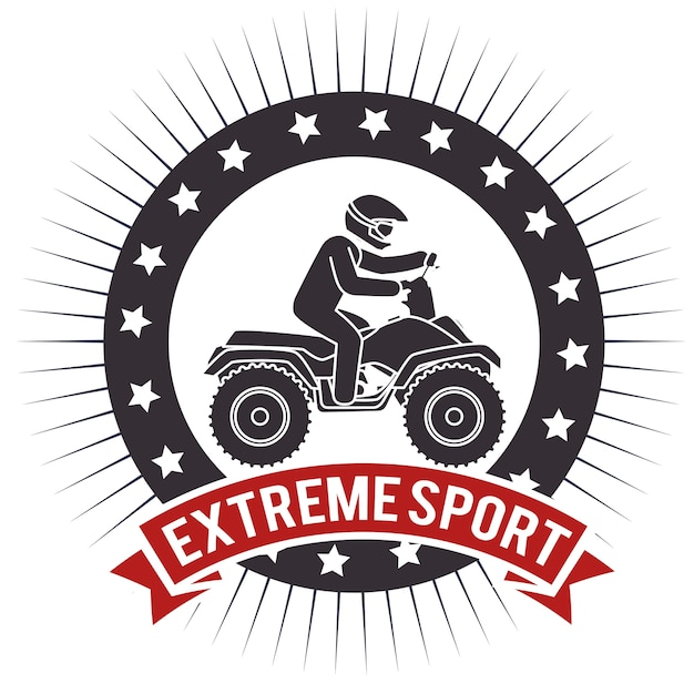 Atv extreme sport label design Premium Vector