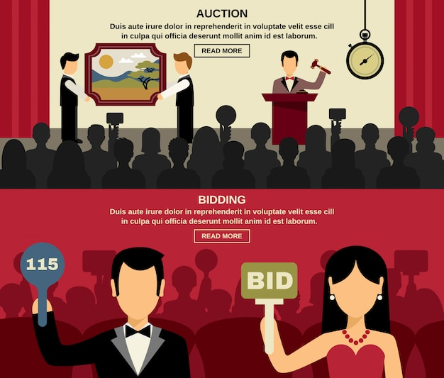 Auction and bidding banners set Free Vector