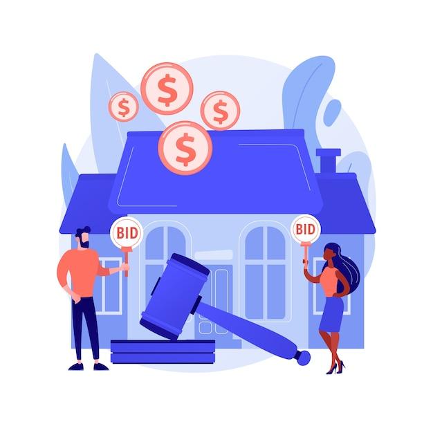 Illustrazione di vettore di concetto astratto casa d'aste. asta di immobili residenziali e commerciali, acquisto, vendita di beni online, offerta esclusiva, offerte consecutive, metafora astratta di aste d'affari. Vettore gratuito