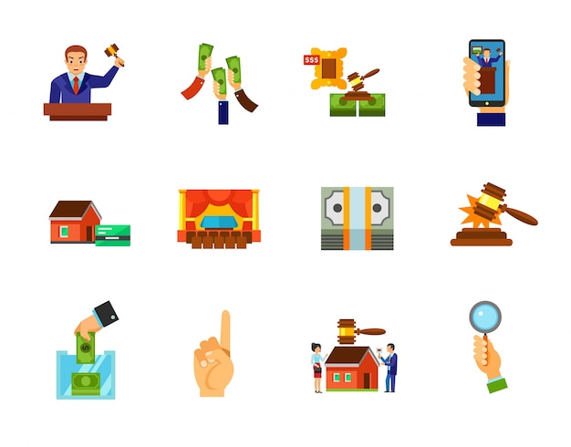 Auction icon set Free Vector