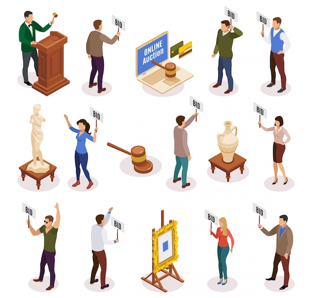 Auction isometric and isolated icon set with people with nameplate in their hands illustration Free Vector