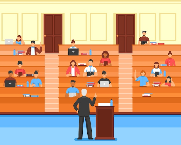 Audience conference hall composition Free Vector