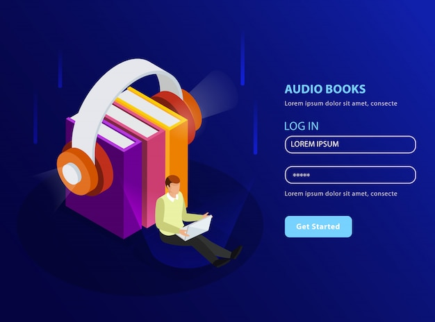 Audio books isometric  in landing page template format with headphones and stack of textbooks glow icons Free Vector