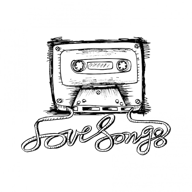 Audio cassette tape with love song lettering. Premium Vector