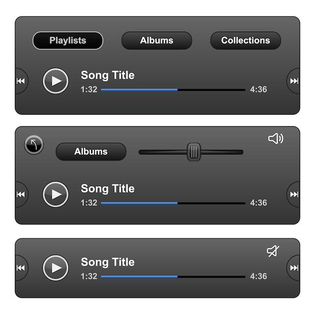 Скин аудиоплеера с кнопкой воспроизведения. Бесплатные векторы