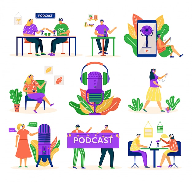 Audio podcast, people with microphone and headset, media set of   illustrations. podcaster young man recording podcast in radio studio. podcasting tutorial and course. Premium Vector