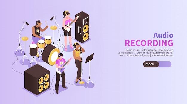 악기 아이소 메트릭을 사용하여 녹음 스튜디오 룸에서 연주 음악 밴드와 오디오 녹음 가로 배너 무료 벡터