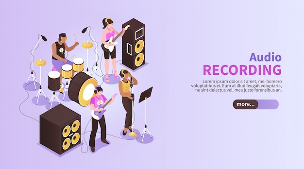 Audio recording horizontal banner with music band playing in recording studio room using musical instruments isometric Free Vector