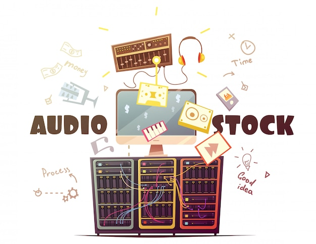 Audio stock for royalty free music sound effects download Free Vector