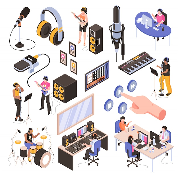 Audio studio isometric set with speakers in  radio room bloggers at work place and musicians recording song isolated Free Vector