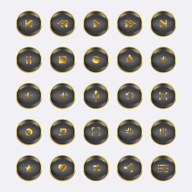 Audio video control gold set Premium Vector