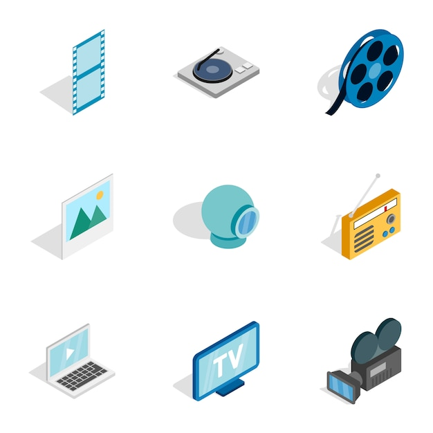Audio and video icons, isometric 3d style Premium Vector