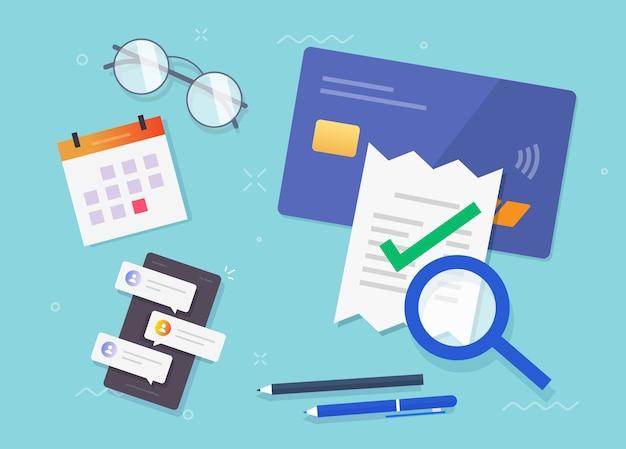 Проверка оплаты счета-фактуры, проверка налогового финансового исследования, проверка успешности мошенничества Premium векторы