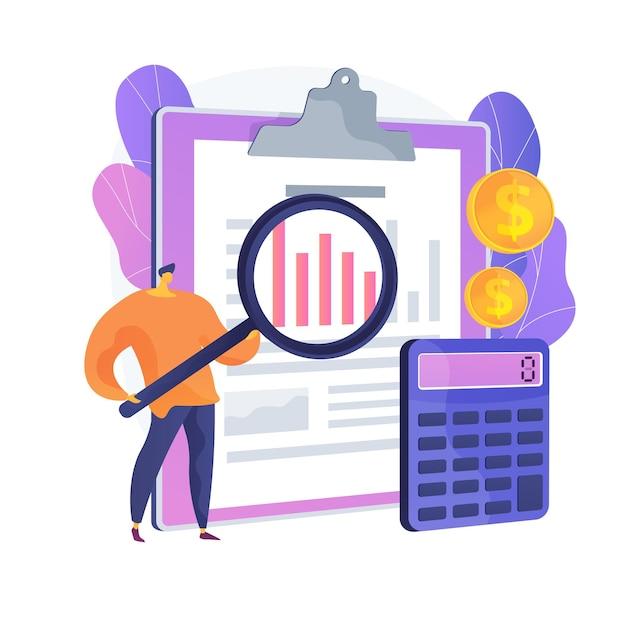 監査サービス支援。財務報告、簿記分析、会社の財務管理。企業の経費査定を行うフィナンシェ。ベクトル分離概念比喩イラスト 無料ベクター