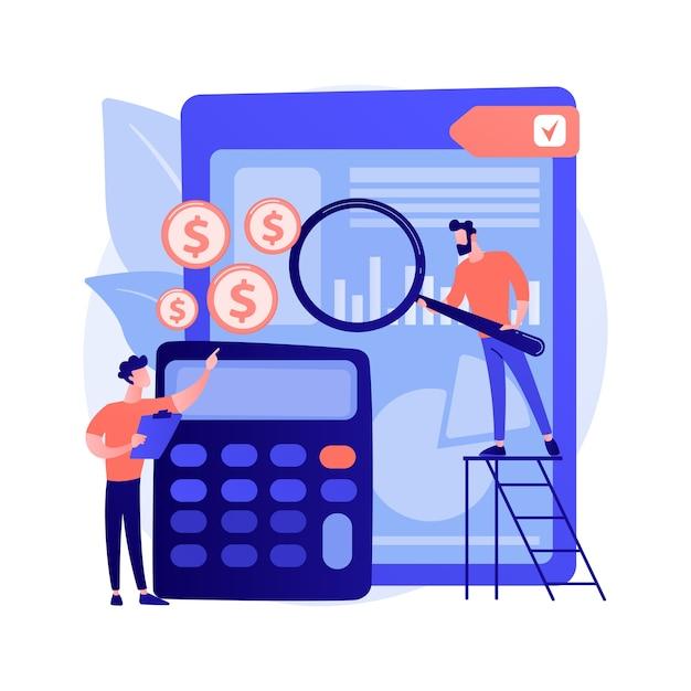 監査サービス支援。財務報告、簿記分析、会社の財務管理。企業の経費査定を行うフィナンシェ。 無料ベクター