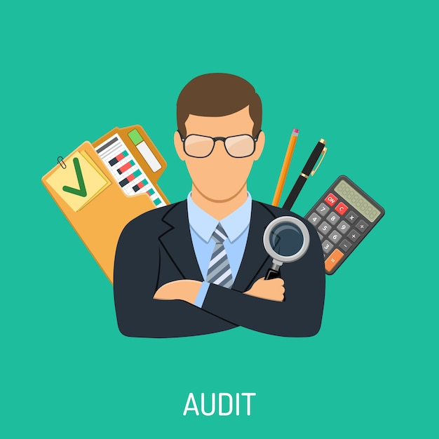 Auditor and accounting concept Premium Vector
