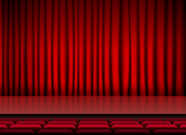 Auditorium stage threater with red curtains and seats Free Vector