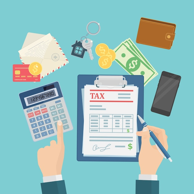 Auditors are calculating and filling out a tax form for financial businesses Premium Vector