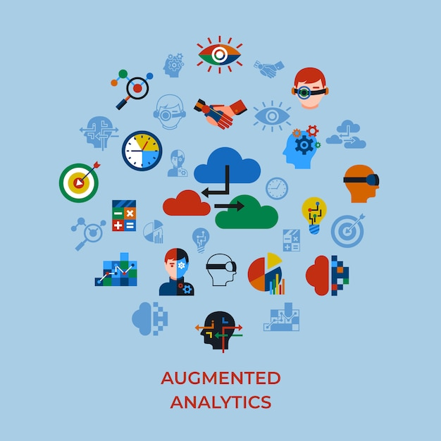 Augmented analytics and innovation technology icons set Premium Vector