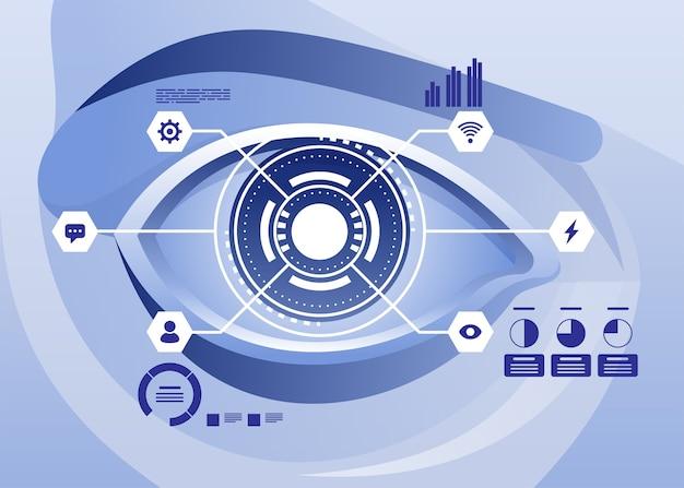 拡張現実と将来のバイオテクノロジー技術コンセプト。仮想グラフィックスを見ている目の上の未来のホログラム。図 Premiumベクター