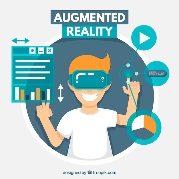Augmented reality background in flat style   Free Vector