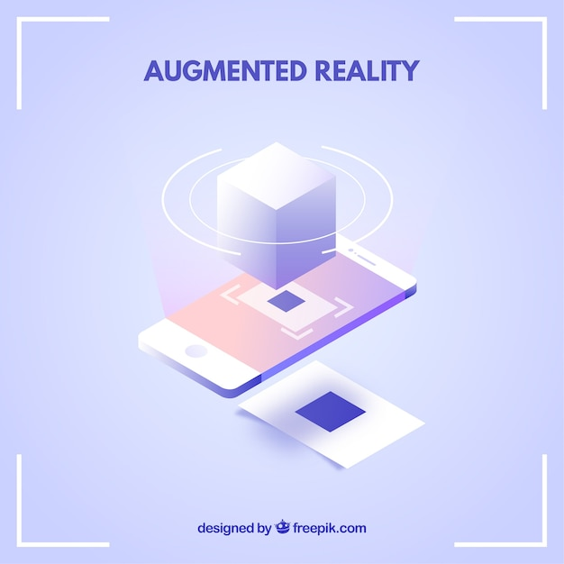 Augmented reality background in isometric style Free Vector