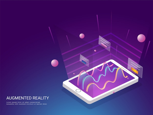 Augmented reality concept based landing page design. Premium Vector
