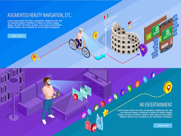 Augmented reality isometric banners set Free Vector