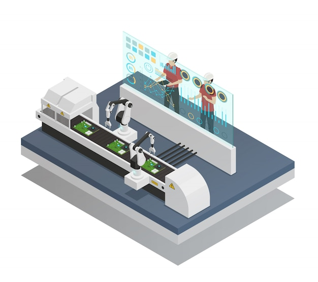 Augmented reality isometric composition Free Vector