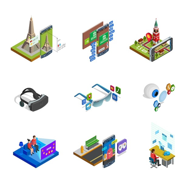 Augmented reality isometric icons set Free Vector