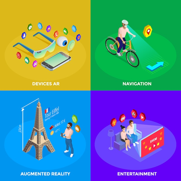 Augmented reality isometric icons square Free Vector