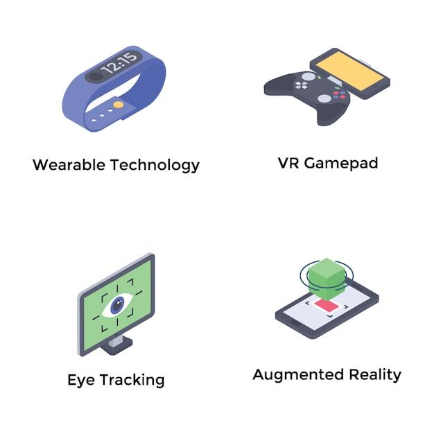 Augmented reality isometric icons Premium Vector