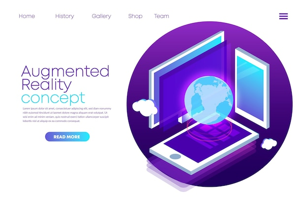 Augmented reality landing page template Free Vector